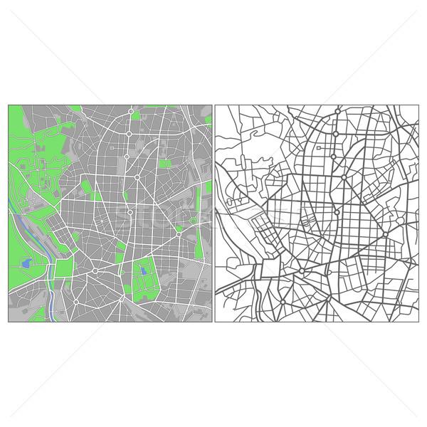 Madrid vector kaart weg achtergrond Stockfoto © tshooter