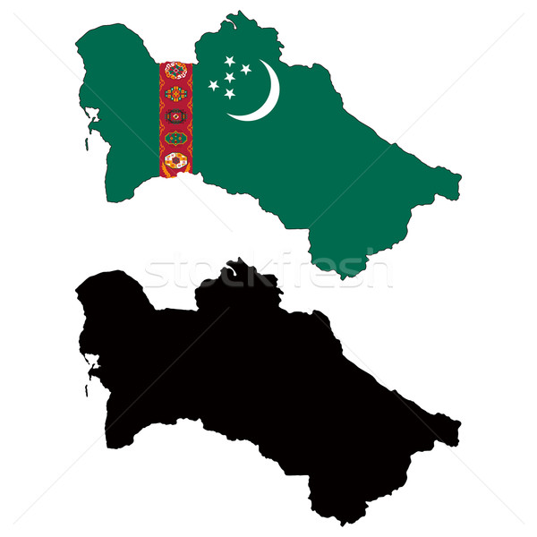 Turkmenistan kaart vlag star witte land Stockfoto © tshooter