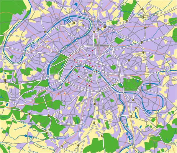 Париж карта город синий городского Сток-фото © tshooter