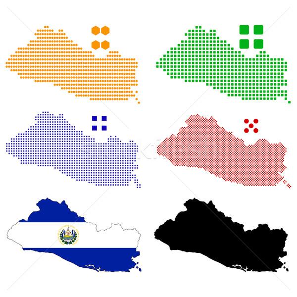 El Salvador vector verschillend kaart groene Stockfoto © tshooter
