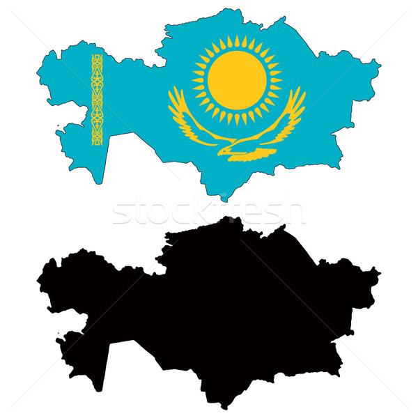 Kazahsztán térkép zászló kék utazás vidék Stock fotó © tshooter