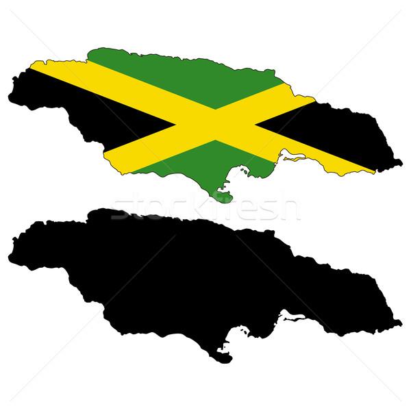 Jamaica kaart vlag zwarte land profiel Stockfoto © tshooter