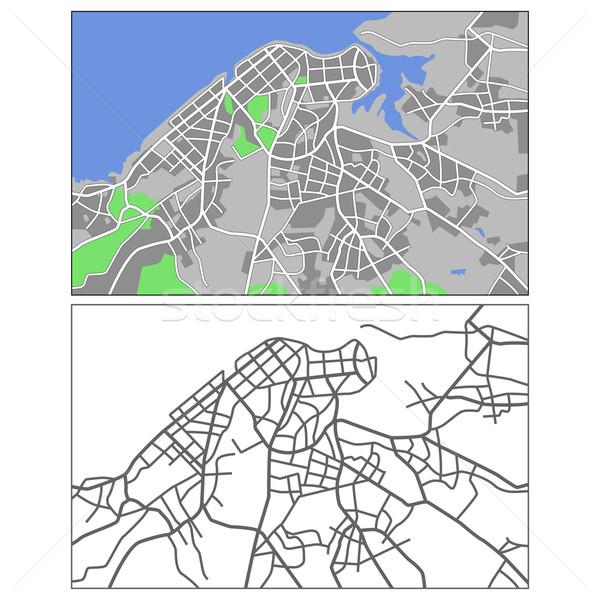 ハバナ レイヤード 地図 道路 市 背景 ストックフォト © tshooter