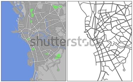 Kaart weg straat achtergrond Blauw Stockfoto © tshooter