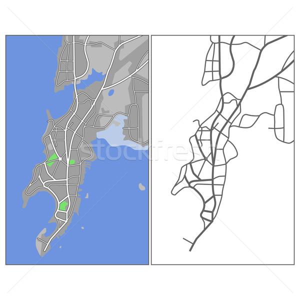 Mumbai mapa estrada verde azul Foto stock © tshooter