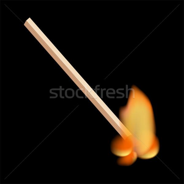 Сток-фото: сжигание · матча · изолированный · огня · черный