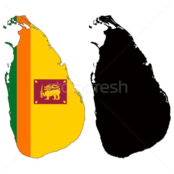 Шри Ланка карта флаг черный стране Рисунок Сток-фото © tshooter