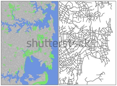 Kaart stad achtergrond groene stedelijke Stockfoto © tshooter