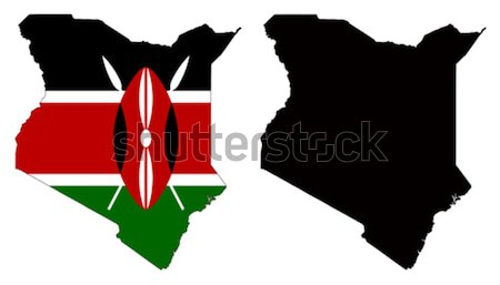 Kenia kaart vlag Rood zwarte land Stockfoto © tshooter