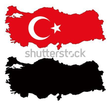 Turkije kaart vlag star land asia Stockfoto © tshooter