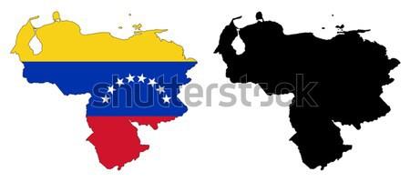 Venezuela térkép zászló kék csillag piros Stock fotó © tshooter