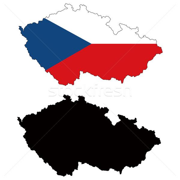 捷克共和国 地图 旗 蓝色 画 轮廓 商业照片 tshooter