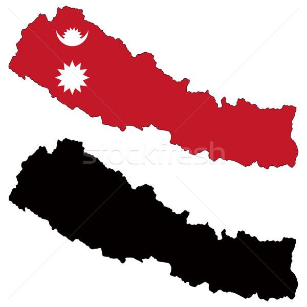 Nepal kaart vlag reizen grafiek tekening Stockfoto © tshooter