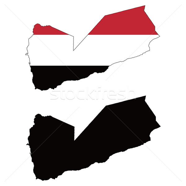 Jemen kaart vlag zwarte asian witte Stockfoto © tshooter