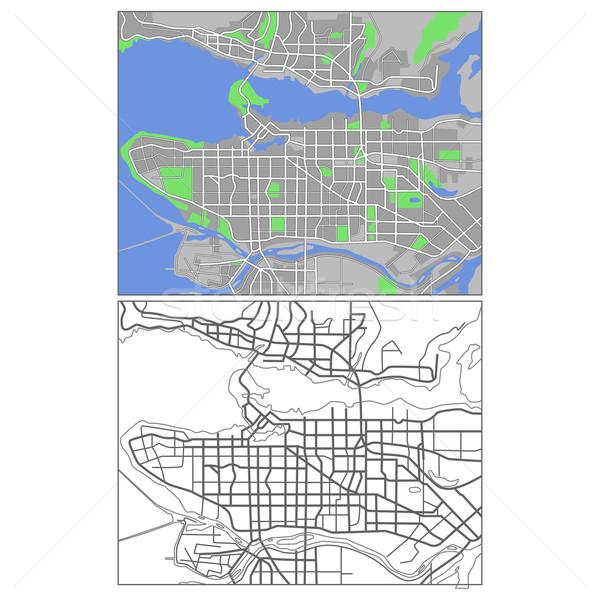 Vancouver mappa città verde blu Foto d'archivio © tshooter