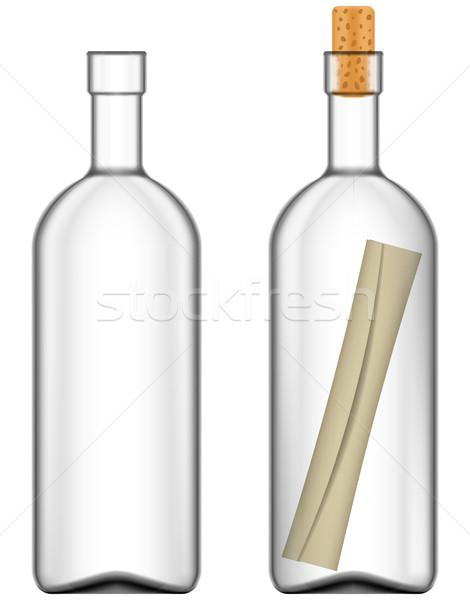 Bericht fles papier communicatie nota Stockfoto © tshooter
