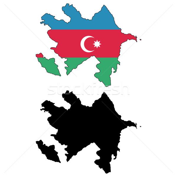 Azerbajdzsán térkép zászló Föld kék utazás Stock fotó © tshooter