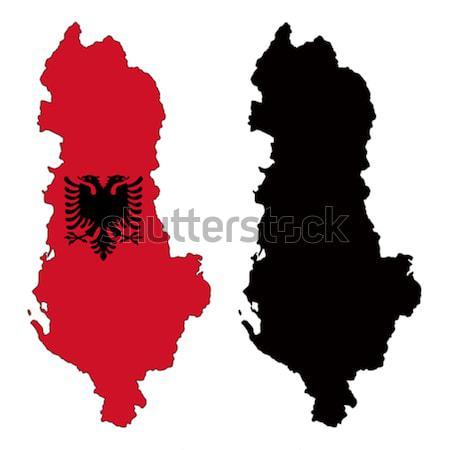 Албания карта флаг красный стране Рисунок Сток-фото © tshooter