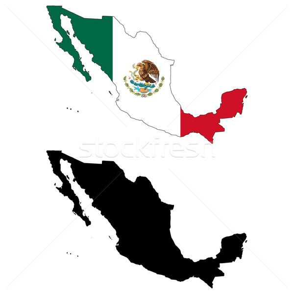 México mapa bandera viaje águila negro Foto stock © tshooter