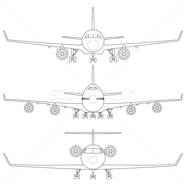 Comercial avião silhueta roda asa Foto stock © tshooter