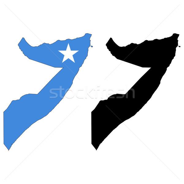 Somalië kaart vlag star afrika zwarte Stockfoto © tshooter