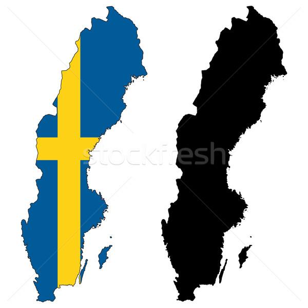 Zweden kaart vlag Blauw reizen land Stockfoto © tshooter