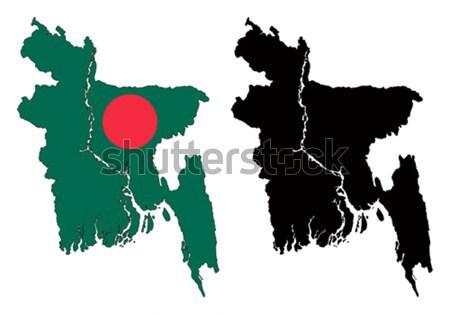 Bangladeş harita bayrak kırmızı ülke profil Stok fotoğraf © tshooter