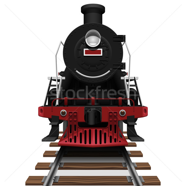 Isolado branco trem vermelho Foto stock © tshooter