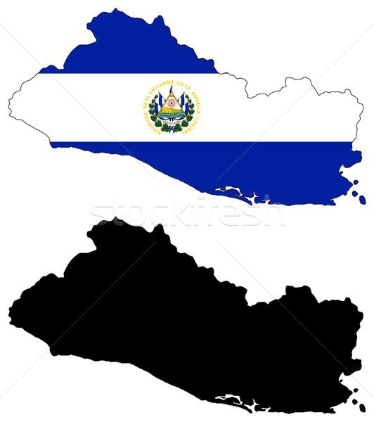 Сальвадор вектора карта флаг озеро черный Сток-фото © tshooter