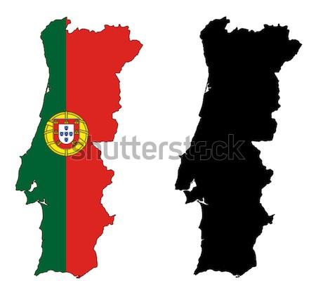 Portugal Mapa Bandeira Vermelho Tracar Desenho