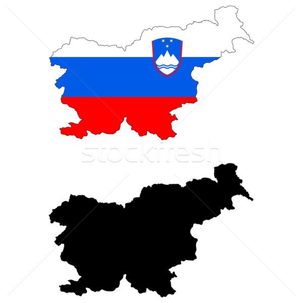 Slovenië kaart vlag Blauw reizen grafiek Stockfoto © tshooter