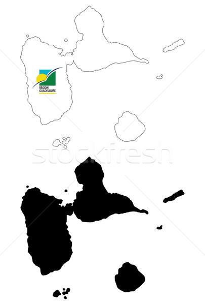 карта флаг черный стране профиль Рисунок Сток-фото © tshooter