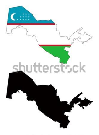 Oezbekistan kaart vlag Blauw reizen star Stockfoto © tshooter