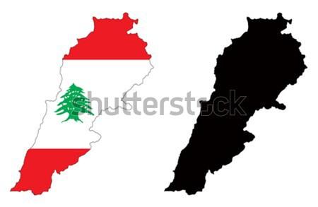 Libanon térkép zászló fa piros fekete Stock fotó © tshooter
