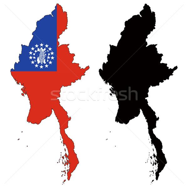 Myanmar kaart vlag reizen Rood zwarte Stockfoto © tshooter