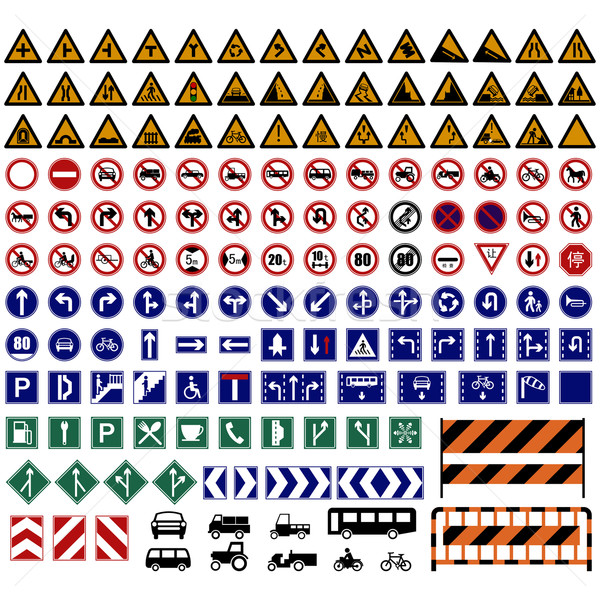 Vector illustration of hundreds Traffic Sign collections. Stock photo © tshooter
