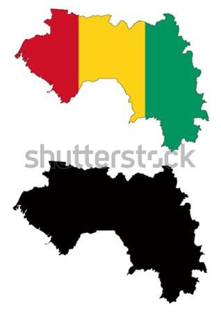 Гвинея карта флаг красный черный стране Сток-фото © tshooter
