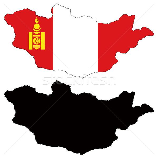Mongólia térkép zászló fekete diagram rajz Stock fotó © tshooter