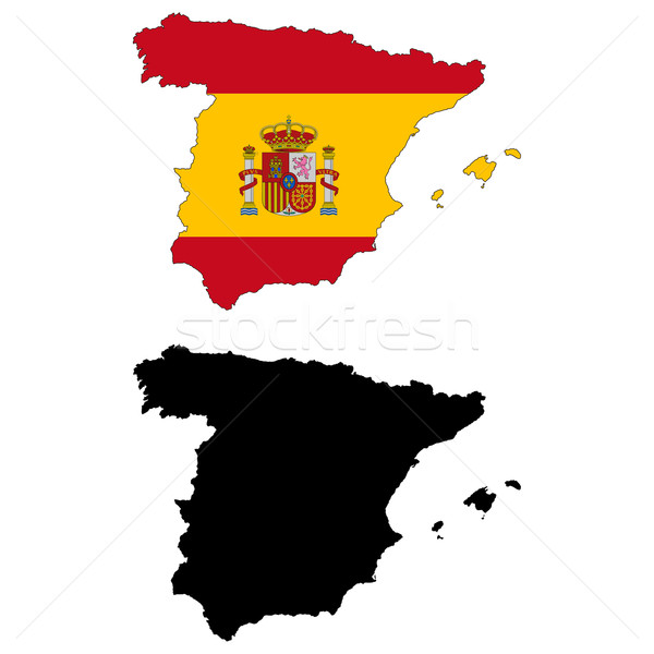 Испания карта флаг путешествия красный стране Сток-фото © tshooter