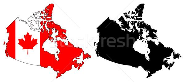 Kanada térkép zászló vidék profil alkat Stock fotó © tshooter
