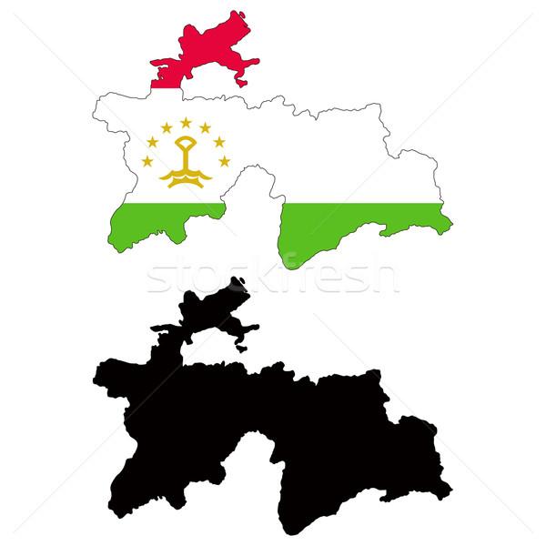 Tadzjikistan kaart vlag reizen Rood zwarte Stockfoto © tshooter