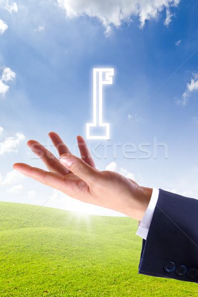 Stock fotó: Kulcs · ikon · kéz · terv · biztonság · zöld