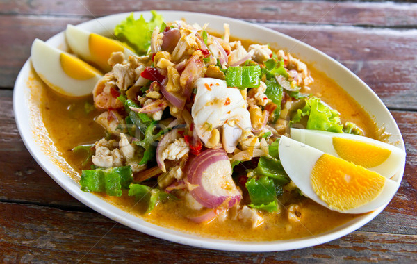 ナット シーフード 唐辛子 サラダ タイ料理 ストックフォト © tungphoto