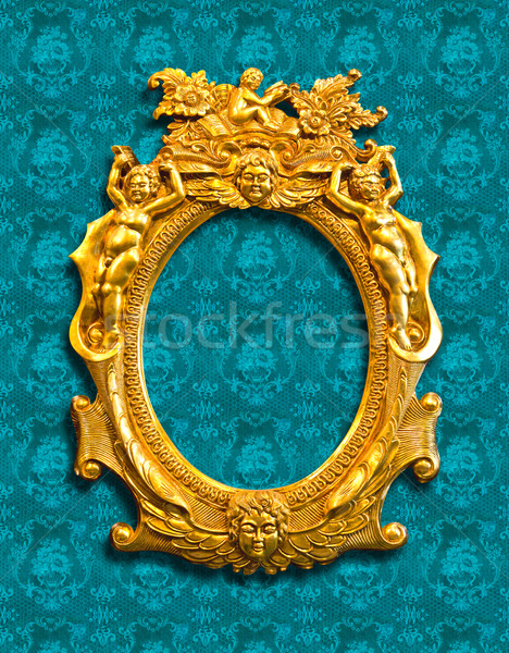 golden sculpture frame with clipping path Stock photo © tungphoto