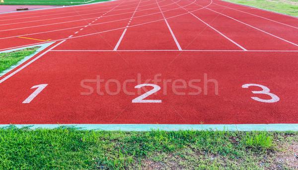 Lopen track school sport landschap achtergrond Stockfoto © tungphoto