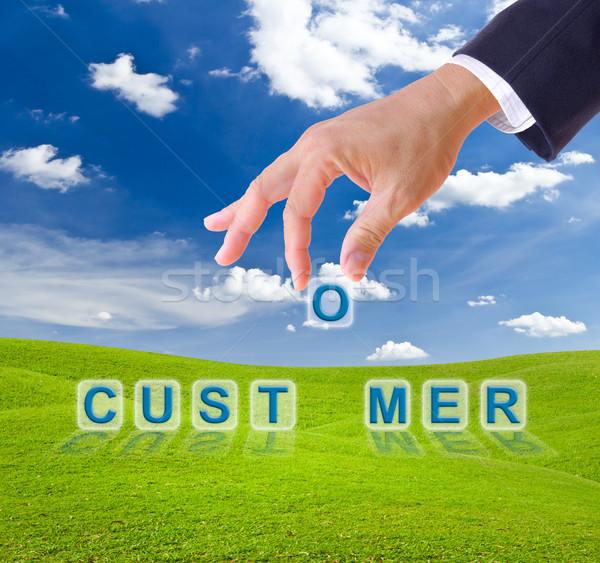 business man hand and customer word Stock photo © tungphoto