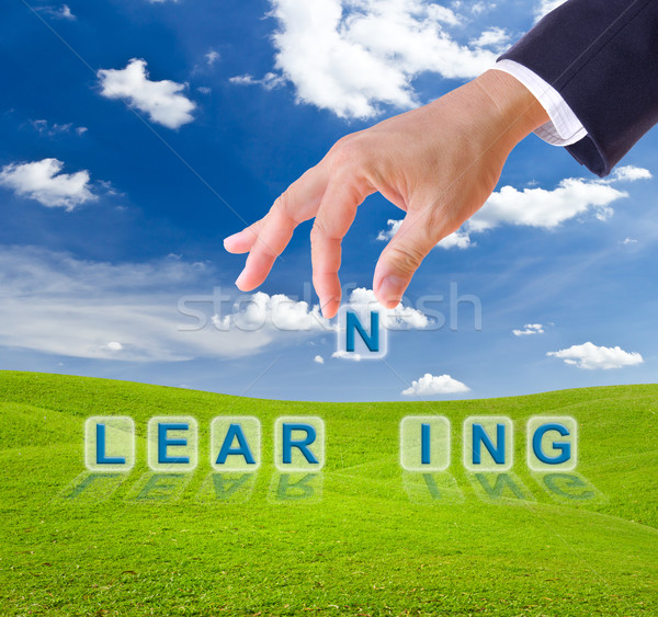 business man hand and learning word Stock photo © tungphoto
