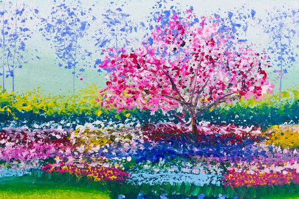 Festmény virágok mező fa virág erdő Stock fotó © tungphoto