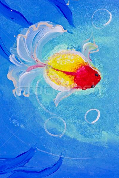 Peinture Goldfish eau arbre poissons feuille Photo stock © tungphoto