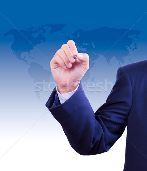 ビジネスマン 手 書く オフィス 男 背景 ストックフォト © tungphoto